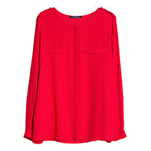 Buy Violeta by Mango Chest Pocket Blouse, Bright Red Online at johnlewis.com