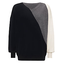 Buy Jaeger Cashmere Colour Block Jumper, Multi Navy Online at johnlewis.com