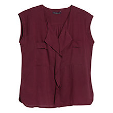 Buy Violeta by Mango Ruffle V-Neck Blouse, Dark Red Online at johnlewis.com