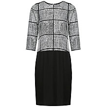 Buy Jaeger Silk Spot Grid Dress, Ivory/Black Online at johnlewis.com