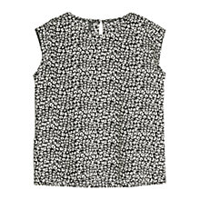 Buy Mango Printed Lightweight Blouse, Black Online at johnlewis.com
