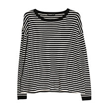 Buy Mango Round Neck Stripe Jumper, Black Online at johnlewis.com