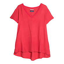Buy Violeta by Mango Ribbed Neck Blouse, Bright Red Online at johnlewis.com