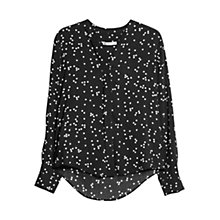 Buy Mango Printed V-neckline Shirt, Black Online at johnlewis.com