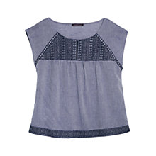 Buy Violeta by Mango Embroidery Herringbone Blouse, Navy Online at johnlewis.com
