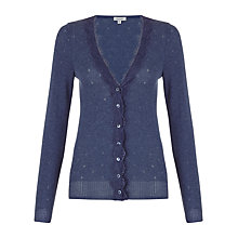Buy Jigsaw Lace Trim Thermal Cardigan, Blue Online at johnlewis.com
