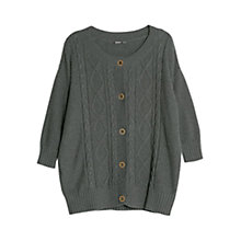 Buy Violeta by Mango Cable Knit Cotton Cardigan, Dark Grey Online at johnlewis.com