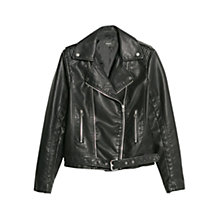 Buy Mango Belted Biker Jacket, Black Online at johnlewis.com