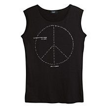 Buy Mango Message Beaded T-shirt, Black Online at johnlewis.com
