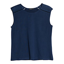 Buy Mango Embroidered Detail T-Shirt, Medium Blue Online at johnlewis.com
