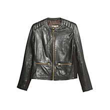 Buy Mango Leather Jacket, Dark Brown Online at johnlewis.com