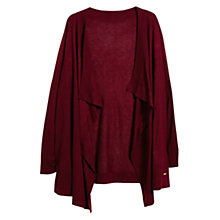 Buy Violeta by Mango Elbow Patch Waterfall Cardigan, Dark Red Online at johnlewis.com