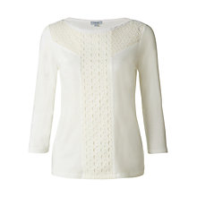 Buy Jigsaw Geo Broderie Silk Front Top, Ivory Online at johnlewis.com