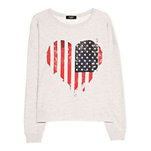 Buy Mango Heart Printed Sweatshirt, Medium Grey Online at johnlewis.com