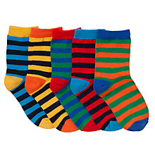 Buy John Lewis Boy Bright Stripes Ankle Socks, Pack of 5, Multi Online at johnlewis.com