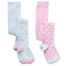 Buy John Lewis Girl Vintage Floral & Hearts Tights, Pack of 2, Multi Online at johnlewis.com