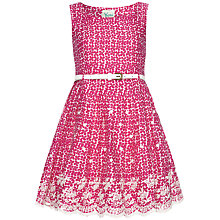 Buy Yumi Girl Flower Print Embroidered Hem Dress, Magenta Online at johnlewis.com