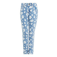 Buy John Lewis Girl Floral Slim Fit Denim Jeans, Light Blue Online at johnlewis.com