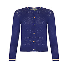 Buy Yumi Girl Lurex Heart Cardigan, Blue Online at johnlewis.com