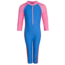 Buy John Lewis Girl All-In-One Sun Pro Suit, Blue/Pink Online at johnlewis.com