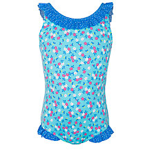 Buy John Lewis Girl Ditsy Floral Ruffle Neck Swimsuit, Green Online at johnlewis.com