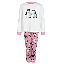Buy John Lewis Girl Monty & Mabel Jersey Pyjamas, Cream/Pink Online at johnlewis.com