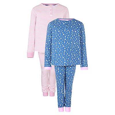 John Lewis Girl Stripe & Star Print Pyjamas, Pack of 2, Multi