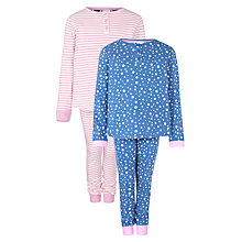Buy John Lewis Girl Stripe & Star Print Pyjamas, Pack of 2, Multi Online at johnlewis.com