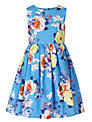 John Lewis Girl Floral Print Sleeveless Dress, Blue/Multi