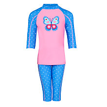 Buy John Lewis Girl Butterfly 2 Piece Sunproof Swimsuit, Blue/Pink Online at johnlewis.com