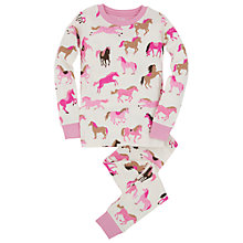 Buy Hatley Girls' Hearts and Horses Pyjamas, Cream/Pink Online at johnlewis.com