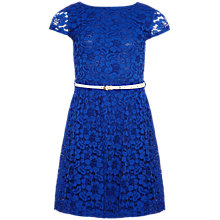 Buy Yumi Girl Short Sleeve Lace Dress, Electric Blue Online at johnlewis.com