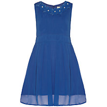 Buy Yumi Girl Embroidered Neckline Dress, Cobalt Blue Online at johnlewis.com