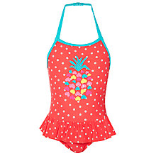 Buy John Lewis Girl Pineapple Applique Swimsuit, Coral Online at johnlewis.com