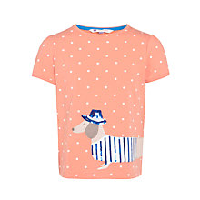 Buy John Lewis Girl Sausage Dog T-Shirt, Coral Online at johnlewis.com