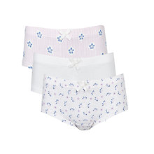 Buy John Lewis Girl Premium Cotton Print Briefs, Pack of 3, White/Lilac Online at johnlewis.com