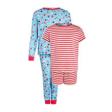 Buy John Lewis Girl Stripe & Floral Pyjamas, Pack of 2, Blue/Red Online at johnlewis.com