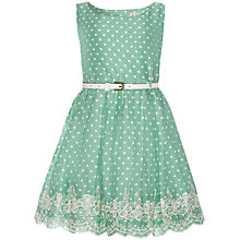 Buy Yumi Girl Polka Dot Embroidered Hem Dress, Mint Green Online at johnlewis.com