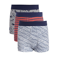 Buy Kin by John Lewis Boy Stripe & Glasses Print Trunks, Pack of 3, Red/Blue Online at johnlewis.com