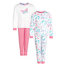 Buy John Lewis Girl Butterfly Print Pyjamas, Pack of 2, Multi Online at johnlewis.com