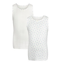Buy John Lewis Girl Premium Organic Cotton Vest, Pack of 2, Cream/Lilac Online at johnlewis.com