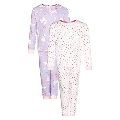 John Lewis Girl Bunny & Spot Print Pyjamas, Pack of 2, Lilac/Pink
