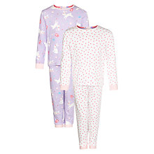 Buy John Lewis Girl Bunny & Spot Print Pyjamas, Pack of 2, Lilac/Pink Online at johnlewis.com
