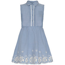 Buy Yumi Girl Embroidered Hem Chambray Dress, Light Blue Online at johnlewis.com