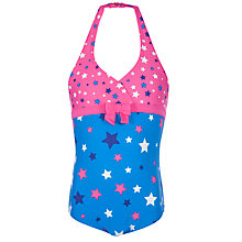 Buy John Lewis Girl Stars Halterneck Swimsuit, Blue/Pink Online at johnlewis.com
