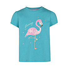 Buy John Lewis Girl Flamingo T-Shirt, Green Online at johnlewis.com