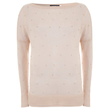 Buy Mint Velvet Seed Bead Knitted Jumper, Pale Pink Online at johnlewis.com