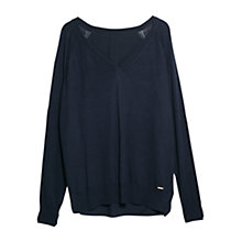 Buy Violeta by Mango Flowy Back Sweater, Navy Online at johnlewis.com