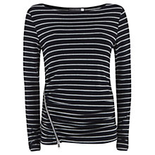 Buy Mint Velvet Stripe Zip Tee, Stripe Online at johnlewis.com