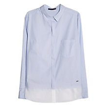 Buy Violeta by Mango Cotton Contrast Hem Shirt, Light Pastel Blue Online at johnlewis.com